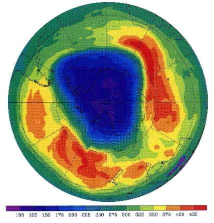 The south pole ozone hole